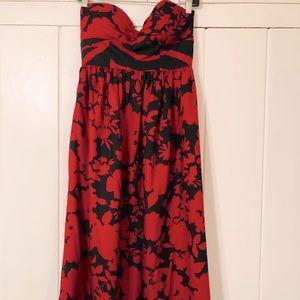 Tibi red floral strapless dress